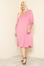 Midi Dress with Tie Sleeve Plus Size