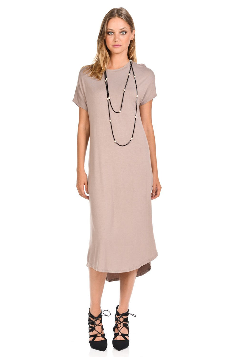 A-Line Short Sleeve Midi Dress