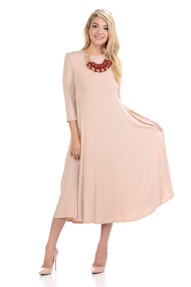 A-Line Swing Trapeze Midi Dress