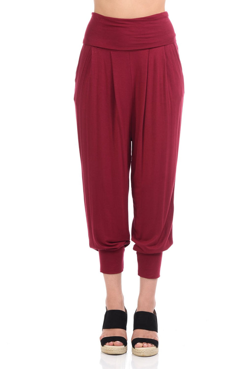 Banded Waist Harem Jogger Pants with Pockets