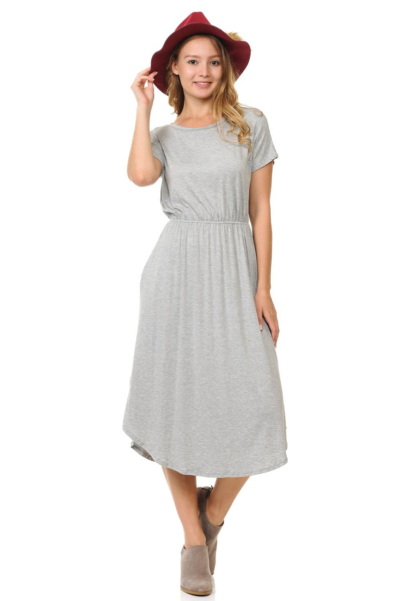 Short Sleeve Flare Midi Dress with Pockets Solid