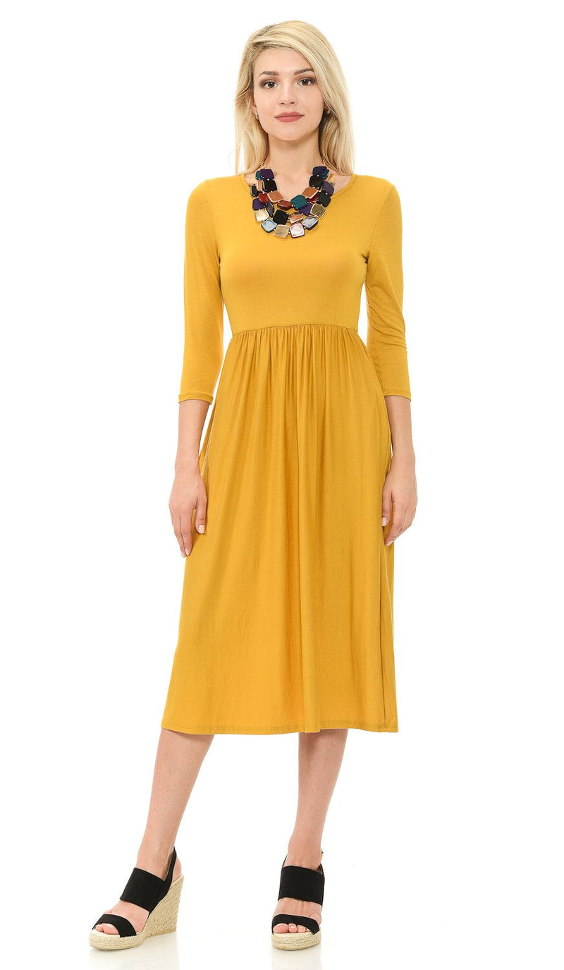 Fit and Flare Midi Dress with Pockets in Solid