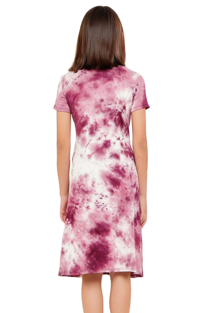 Tie-Dye Knit Midi Dress with Removable Label