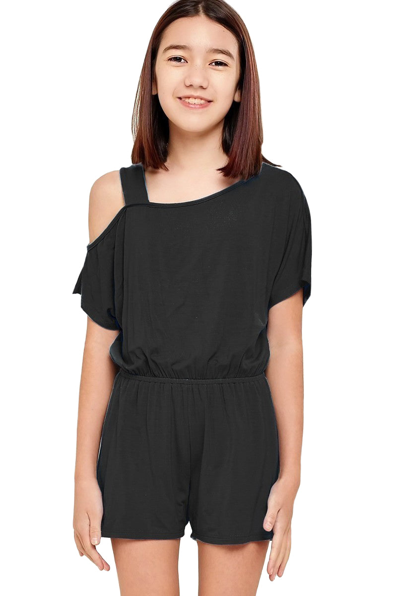 One Shoulder Romper with Removable Label