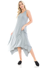 Sleeveless Midi Dress with Asymmetric Hem