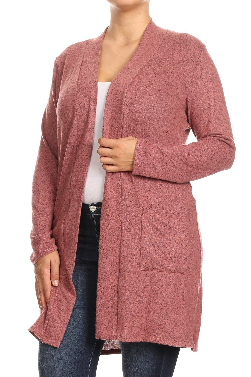 Hacci Open Front Cardigan Plus Size