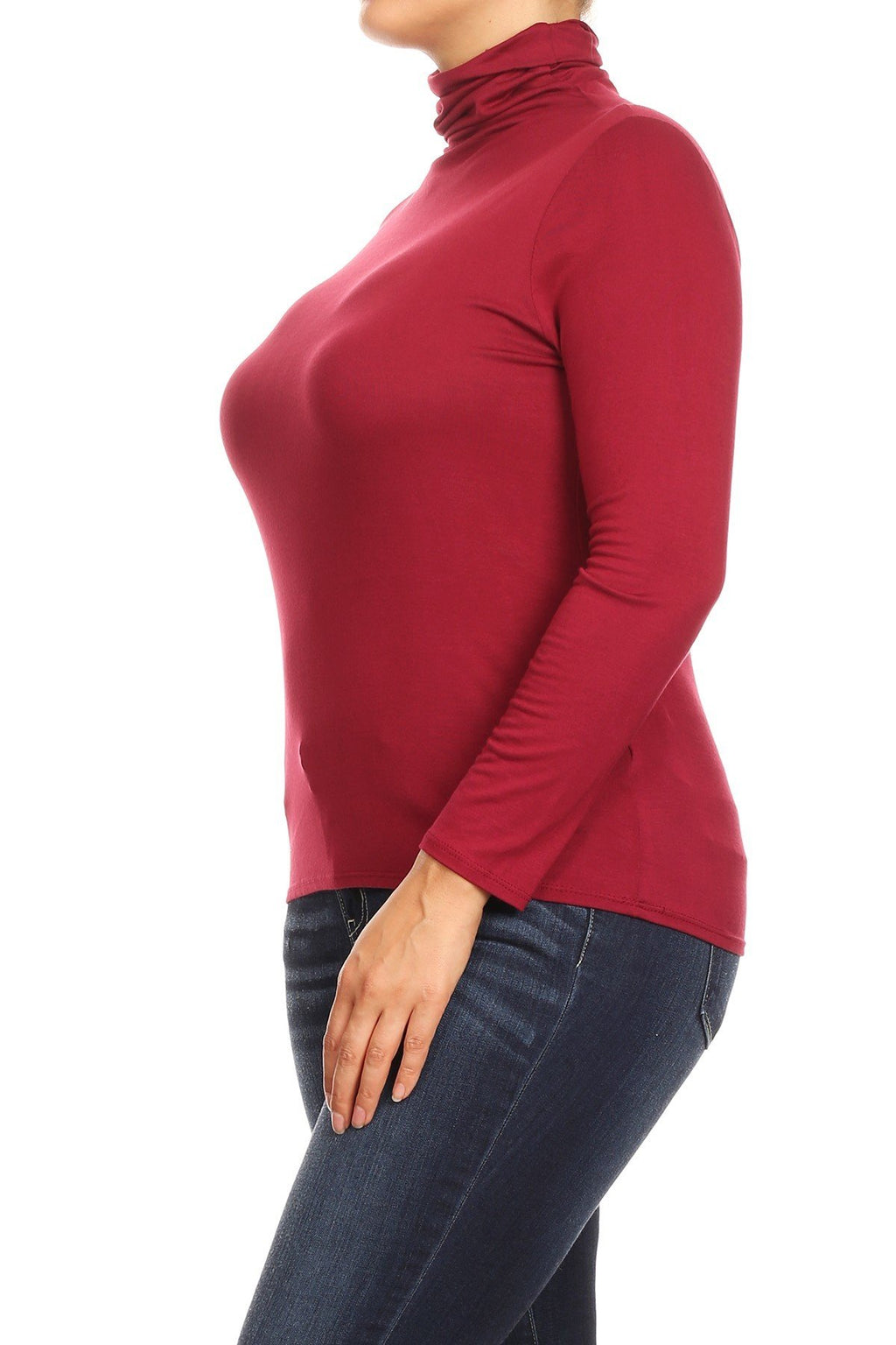 Solid Turtle Neck Tee Plus Size