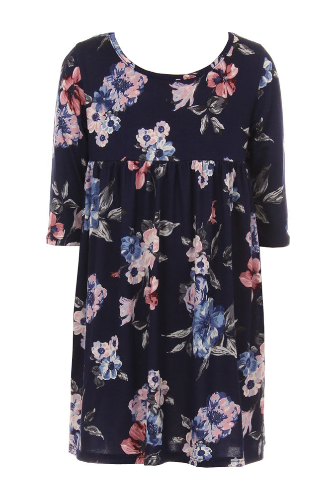 Shirring Floral Tunic Dress