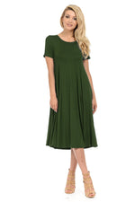 Short Sleeve A-Line Trapeze Midi Dress