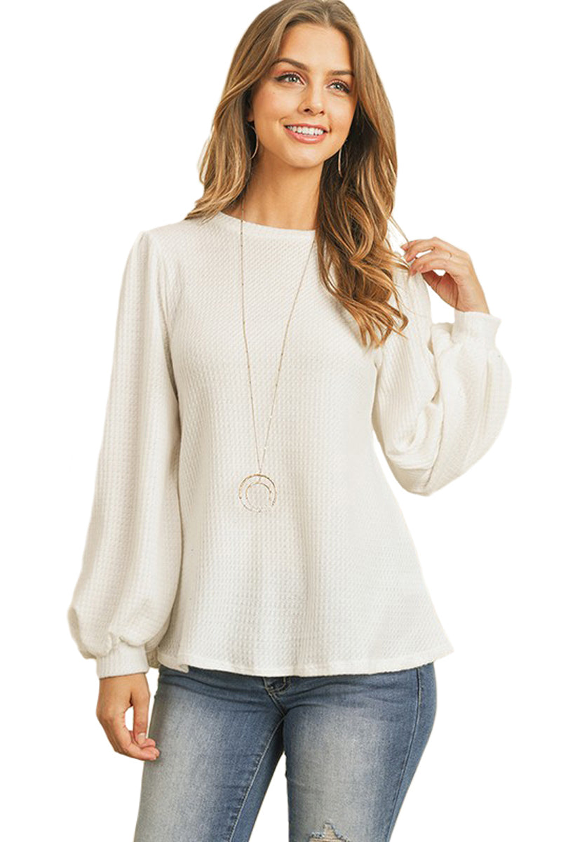 Waffle Blushed Puff Sleeve Top