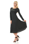 Long Sleeve A-Line Midi Dress