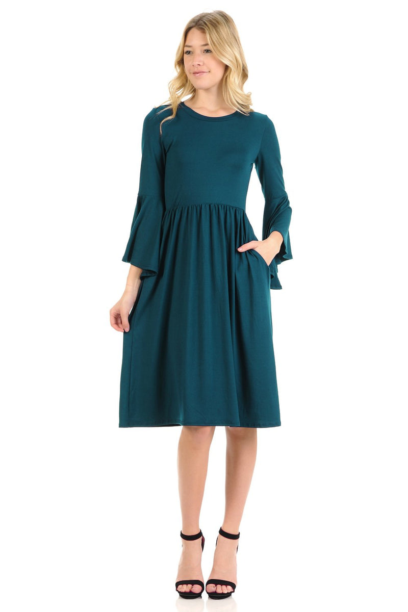 Fit and Flare Dress with Dramatic Bell Sleeve