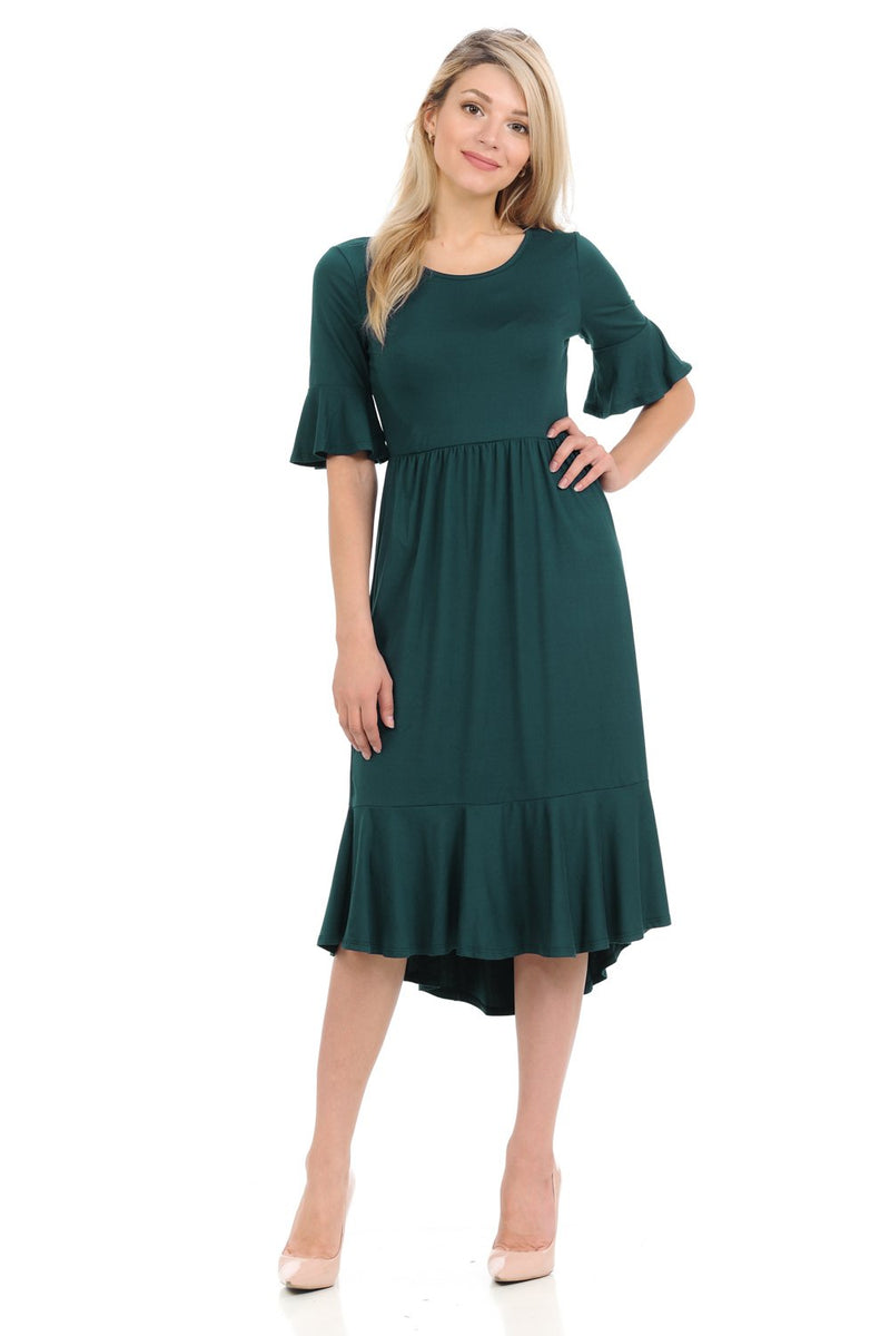 Premium Knit Cropped Bell Midi Dress