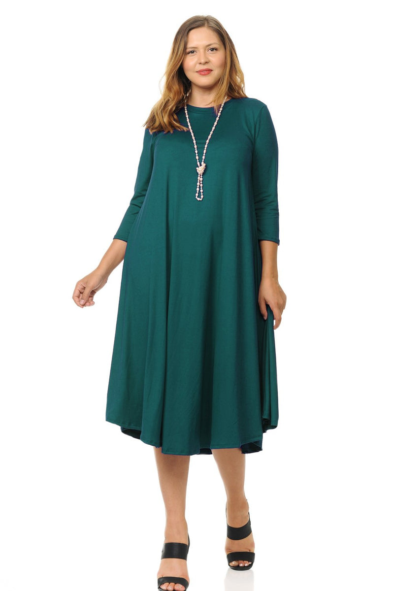 Swing Midi Dress Solid Plus Size