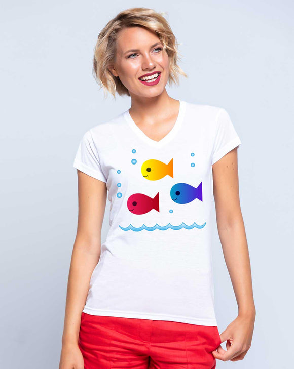 Camiseta Mujer PECES COLOR