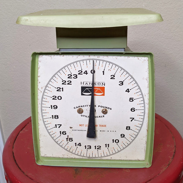 Rare Vintage Avocado Green Color Hanson Utility Scale. 25lb