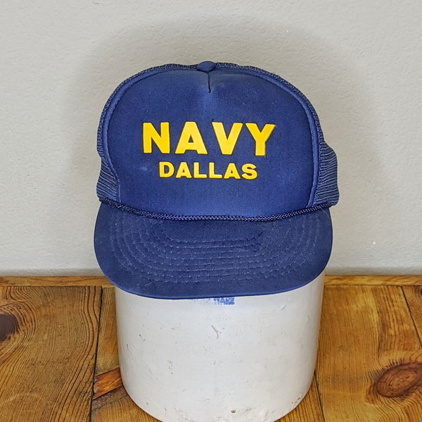Vintage Nissin Navy Dallas Trucker Hat Cap
