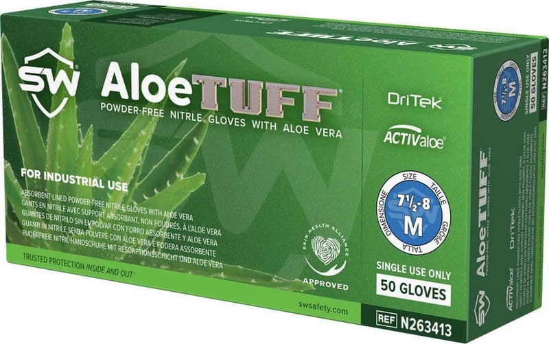 SW - Megaman Aloetuff Heavy Duty Nitrile Exam Gloves with EnerGel & DriTek (50 Gloves/box)