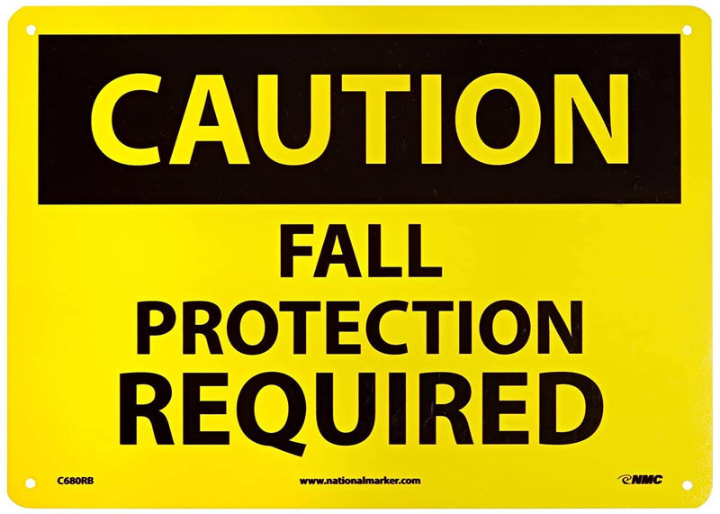 "NMC - 10"" x 14"" Caution Fall Protection Required Sign - Becker Safety and Supply"