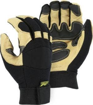 MAJESTIC - Black Eagle Mechanics Glove with Pigskin Palm and Grip Patches - Becker Safety and Supply