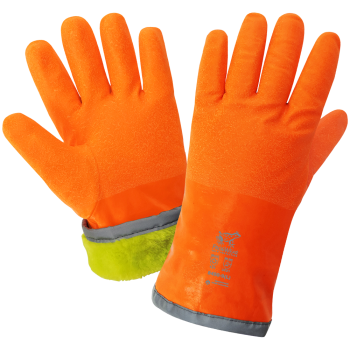 "FrogWear - Low Temp/Freezer Gloves - Cold Protection - 12"" Orange Anti-Freeze Nitrile - Honeycomb Mesh Interior w Cold Keep Insulation - 2"" Heavy Velvet Cuff Interior - Sandpaper Grip - Reflective Cuff Overcasting - Wing Thumb"