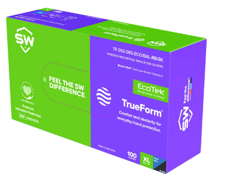 SW - 3.1 mil Trueform Ecotek Biodegradable Nitrile Glove with Breach Alert (100 Gloves/box) - Becker Safety and Supply
