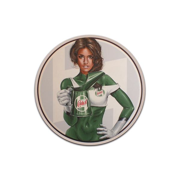 Castrol Oil Round PinUp Girl Sticker