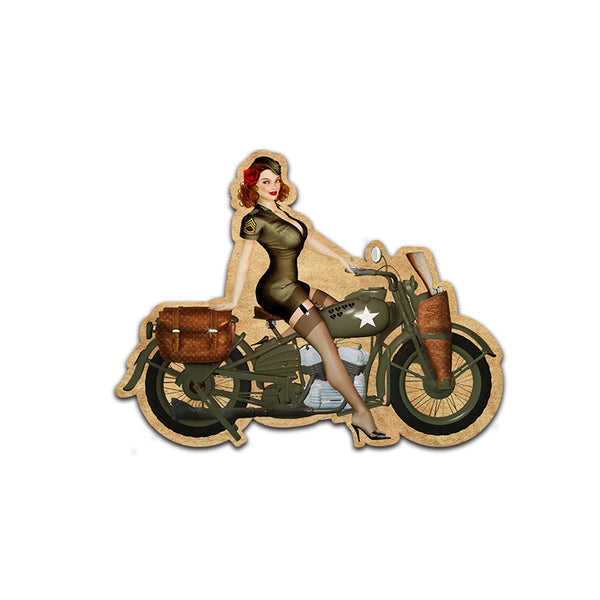 1942 Harley-Davidson WLA Oil Parts Pinup Girl Retro Car Decal Stickers