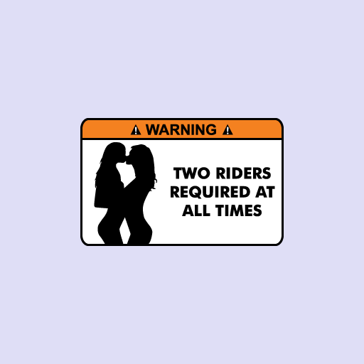 Warning Two Riders Required At All Times Sticker-0