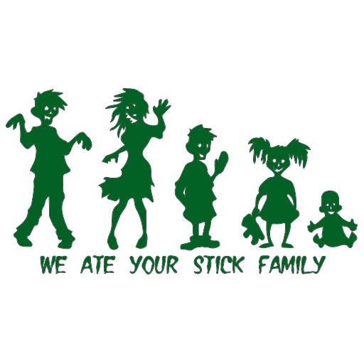 Zombie Ate Stick Family Sticker-0