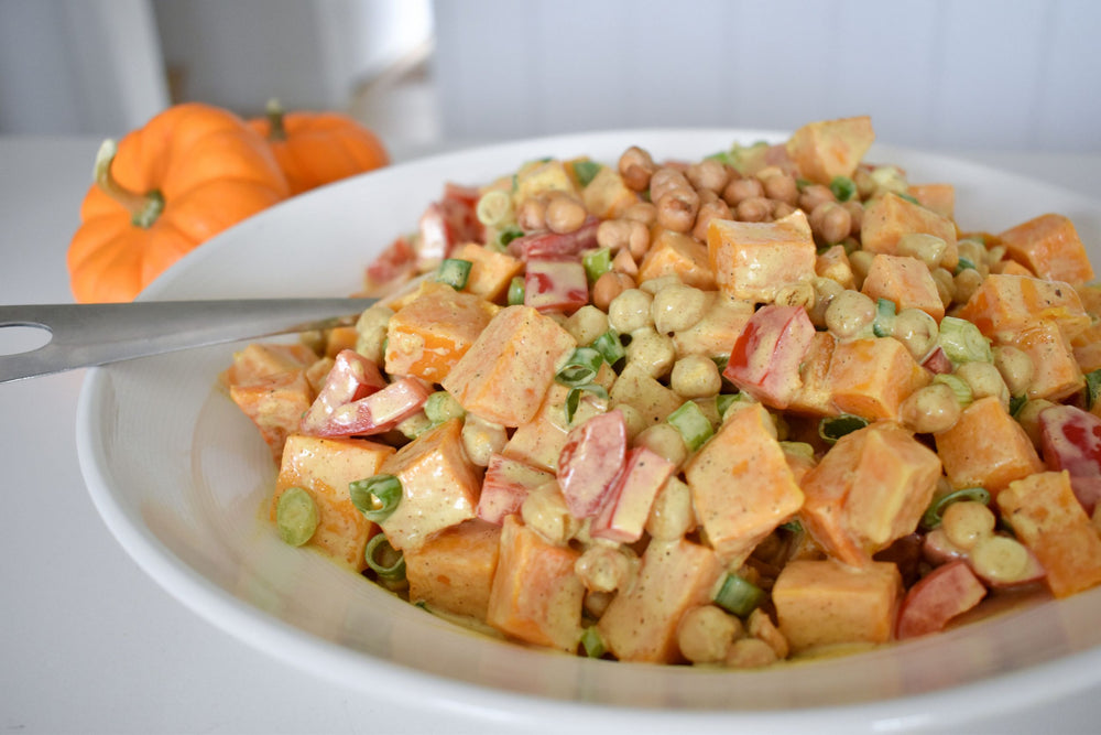 Butternut Squash and Chickpea Salad w/ Yogurt Curry Dressing