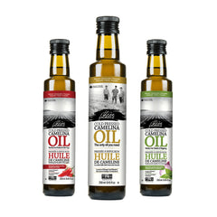 Three flavours of Camelina Oil