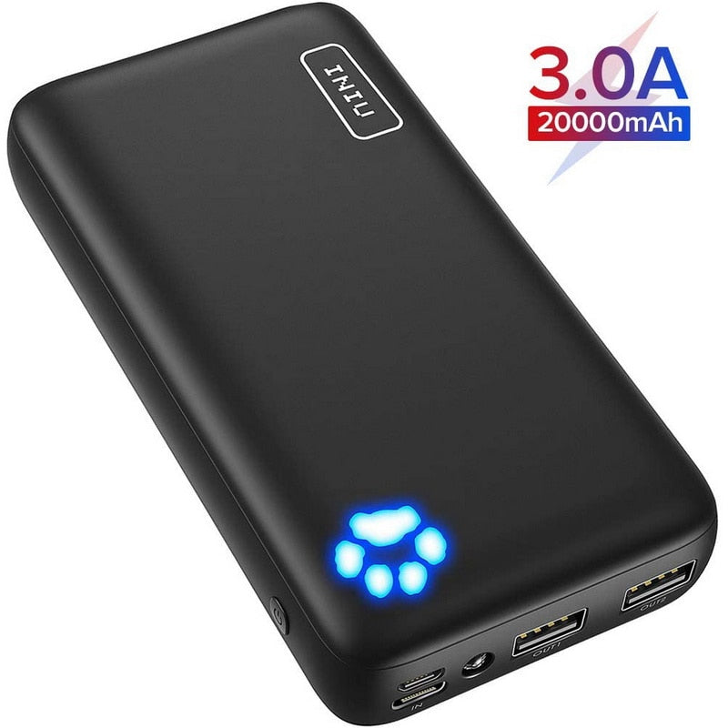 INIU Power Bank 20000mAh Dual USB Portable Charger - BluYeti Camping