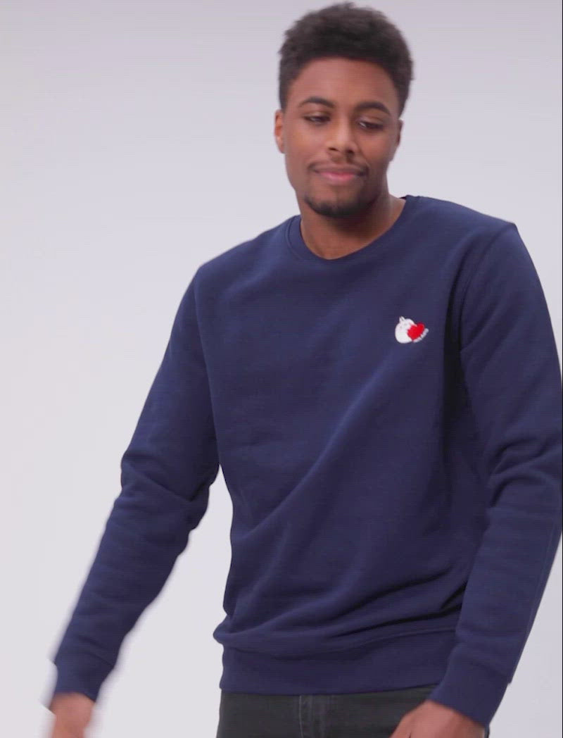 "A cute navy blue sweatshirt Molang ""Yummy"" Embroidered."