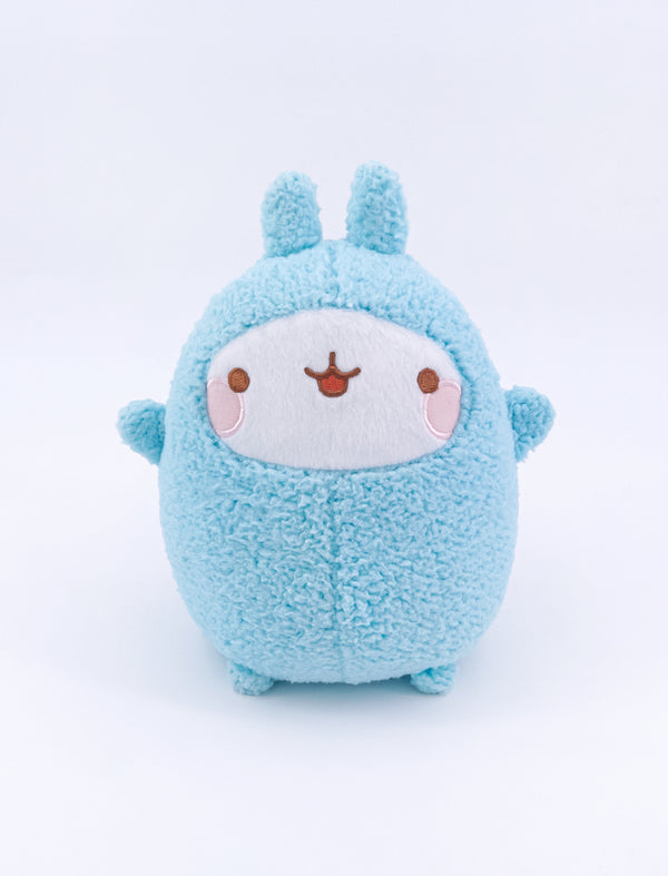 A cute basic blue plush in fur of Molang