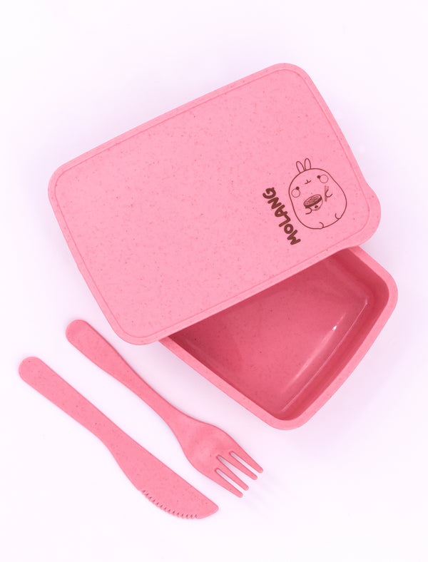 "A cute pink  Molang ""Ramen'tic Molang Lunch Box."