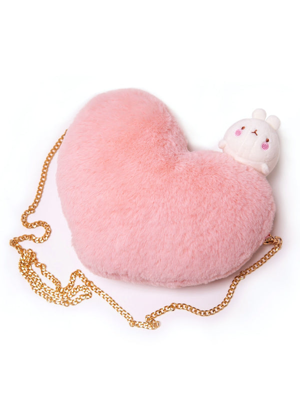 A pink heart shaped bag with a cute Molang on top and a zip.pink