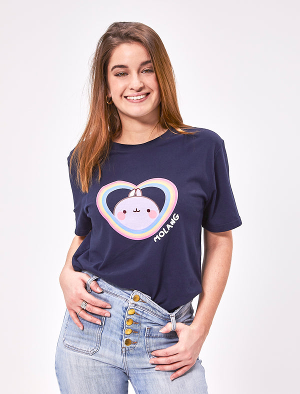 A cute unisex navy blue t shirt Molang with a heart shaped rainbow.