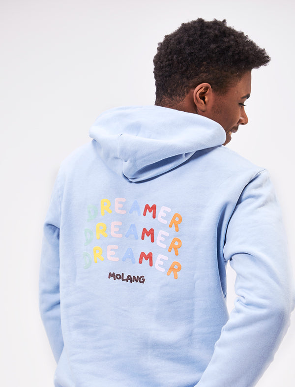 "A cute unisex sky blue Molang hoodie ""Dream Bigger""."