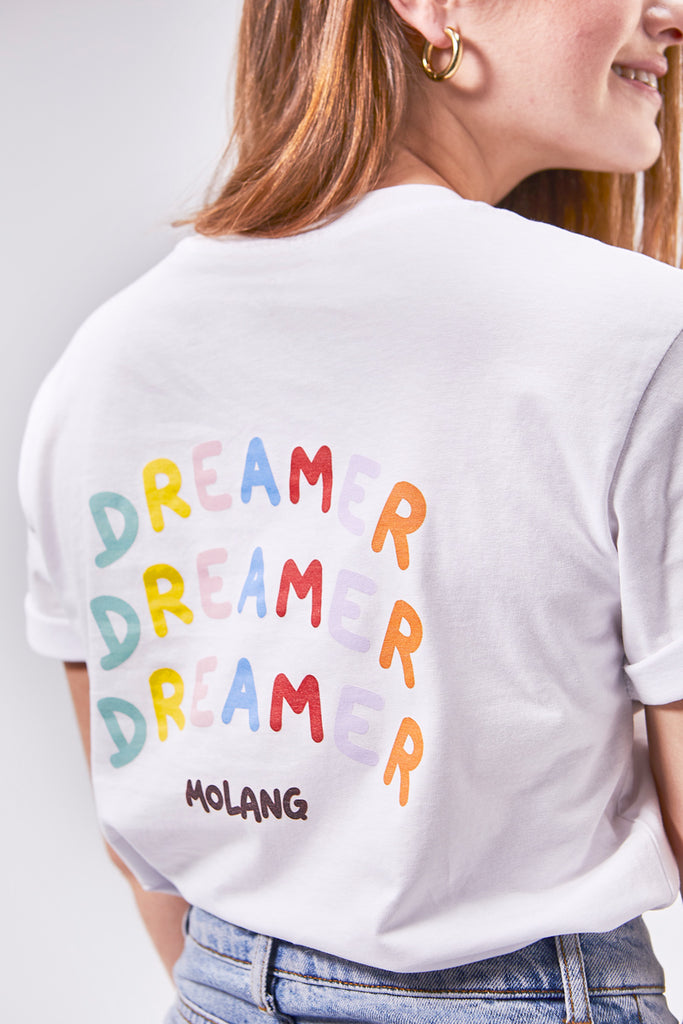 "A cute unisex white Molang t shirt ""Dream Bigger"" of our bunny."