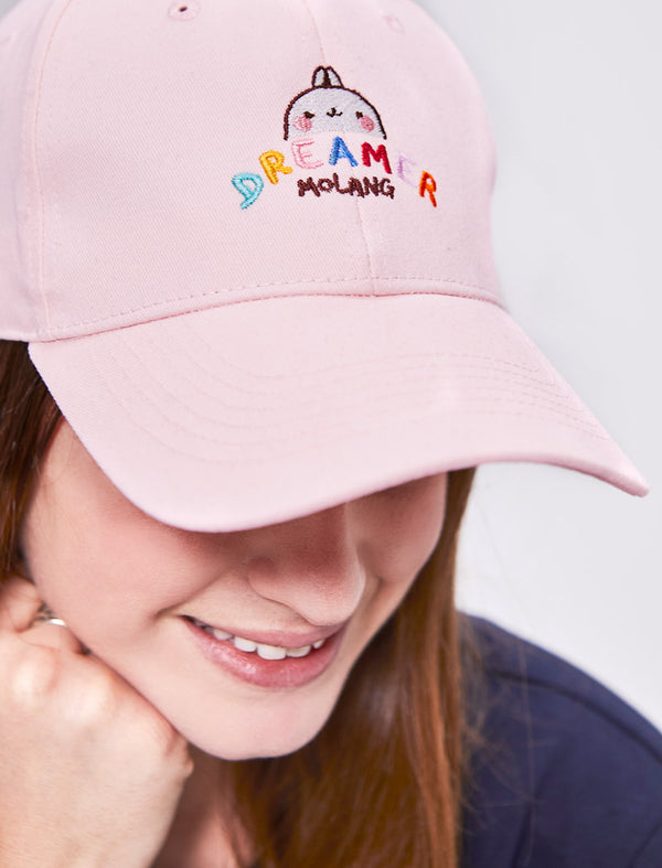 "A cute pink cap Molang ""Dreamer"" of our bunny."