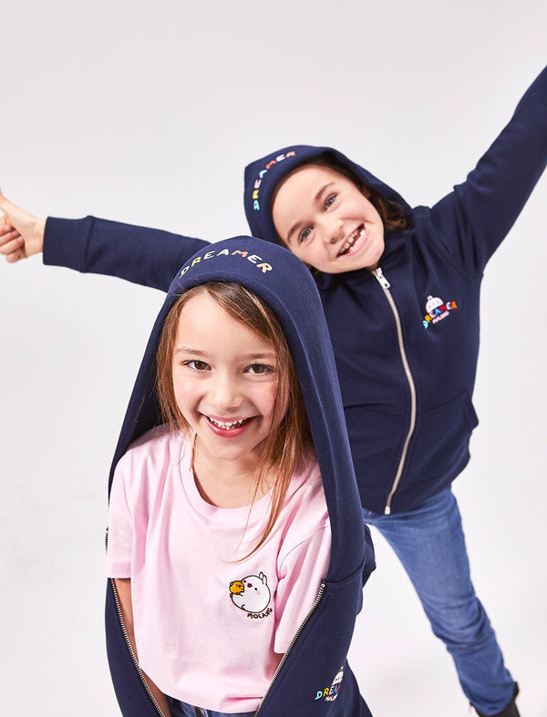 "A cute navy blue kid zip hoodie Molang ""Dreamer"" of our bunny."