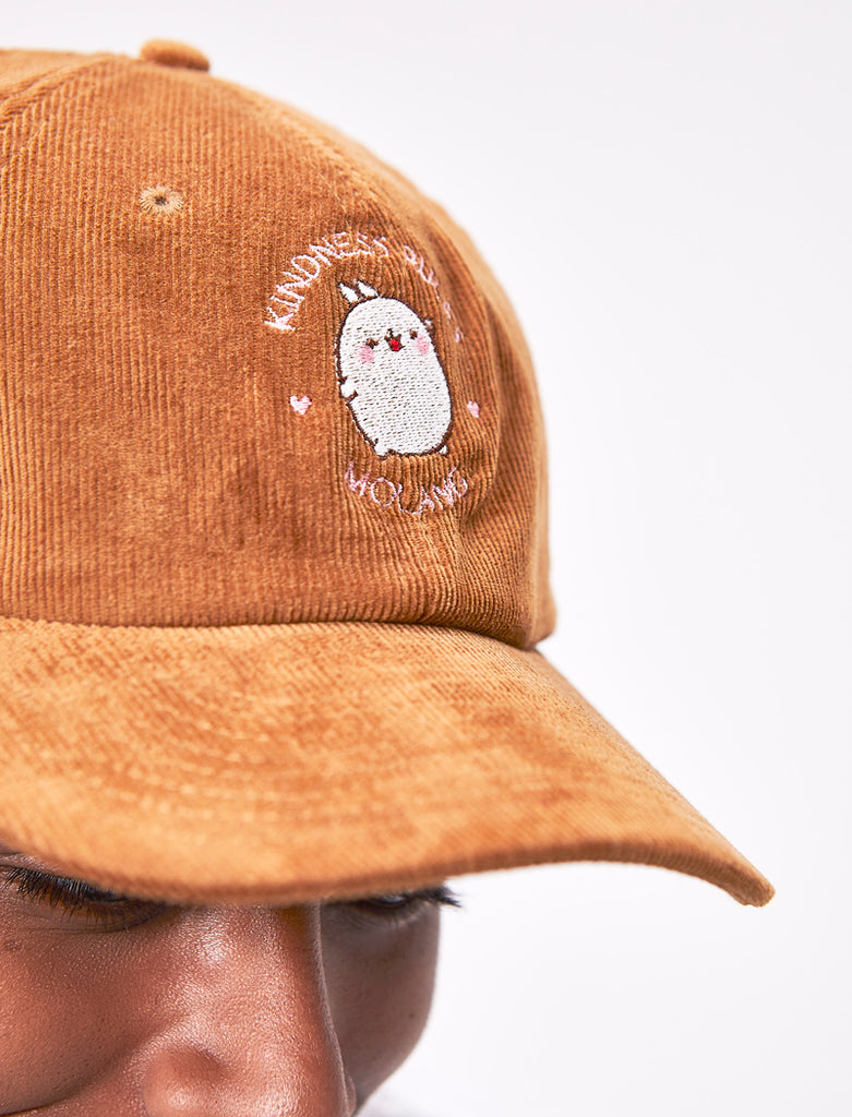 "A cute camel corduroy cap Molang ""Kindness Rules"" adult of our bunny."