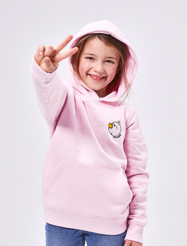 A cute cotton pink kid hoodie with Molang and Piu Piu.