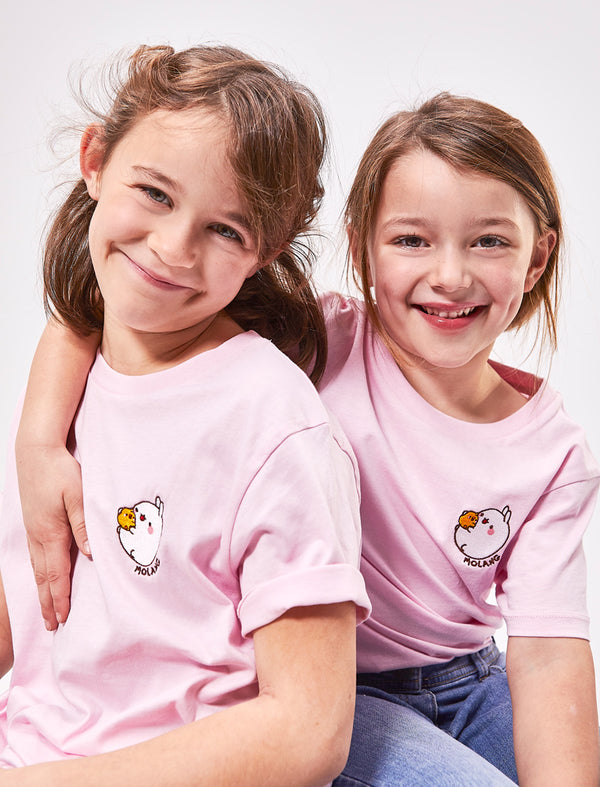 A cute cotton pink kid t shirt Molang and Piu Piu.