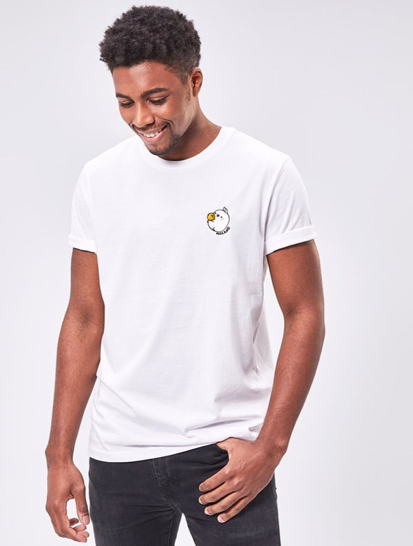 A cute unisex white t shirt Molang and Piu Piu.