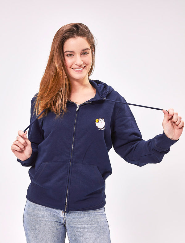 A cute unisex navy blue zip hoodie Molang and Piu Piu.