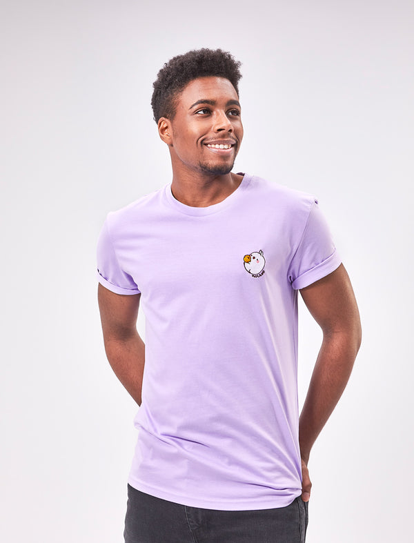 A cute unisex lavender t shirt Molang and Piu Piu.