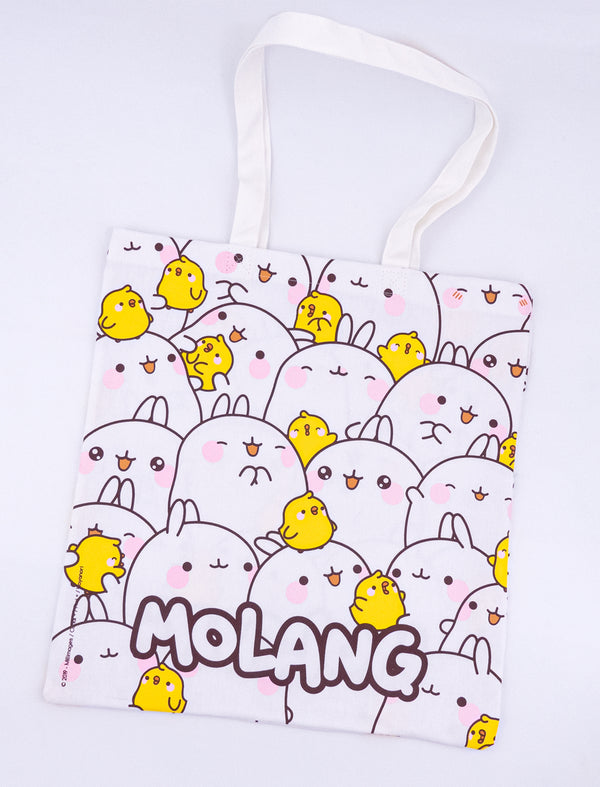 A cute white coton tote bag Molang and Piu Piu.