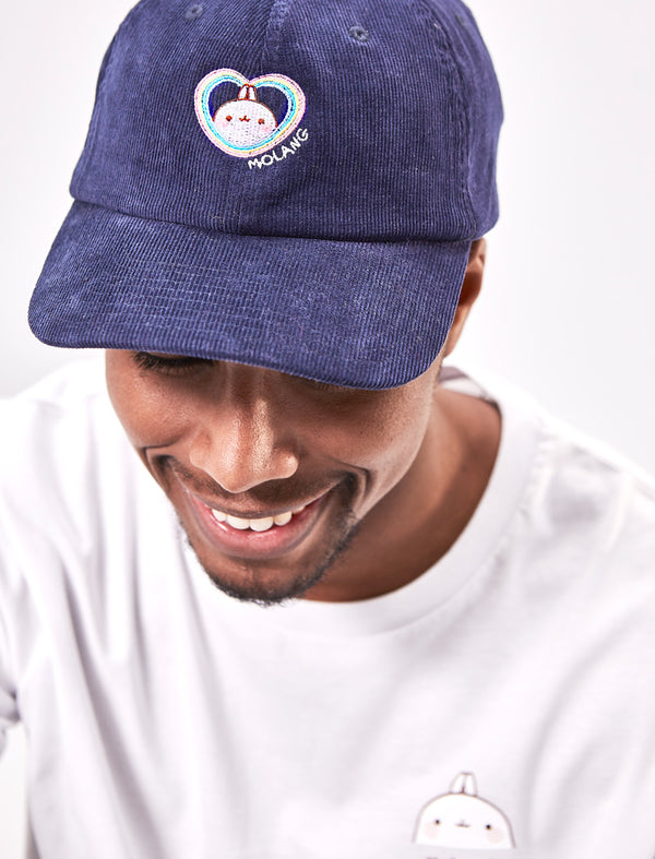 "A cute Molang Navy Blue ""Rainbow Always Wins"" Embroided Corduroy Adult Cap."